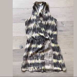 Parker Silk abstract Yellow Grey Racerback Dress S
